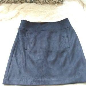 Loft Black Faux Suedu Mini Skirt with Pockets